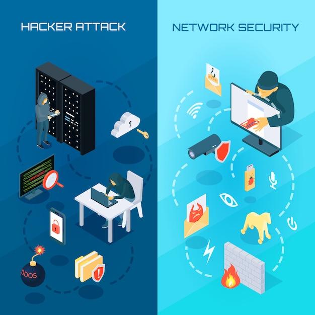 Banners isométricos de hacker vetrical Vetor grátis