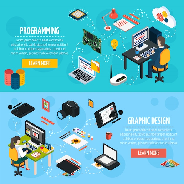 Banners isométricos de programação e design gráfico Vetor grátis