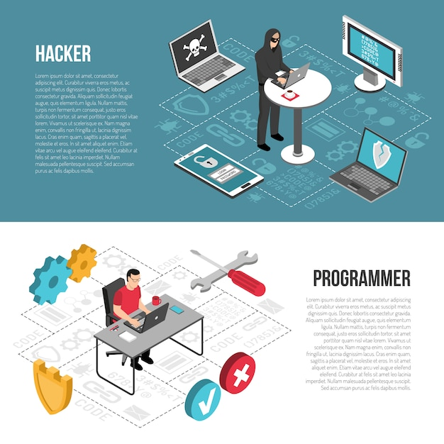 Banners isométricos do programador hacker Vetor grátis