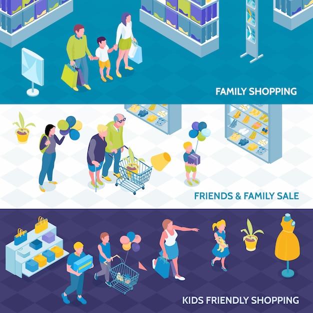 Banners isométricos horizontais da família fazer compras com crianças e amigos isolaram de ilustração vetorial Vetor grátis