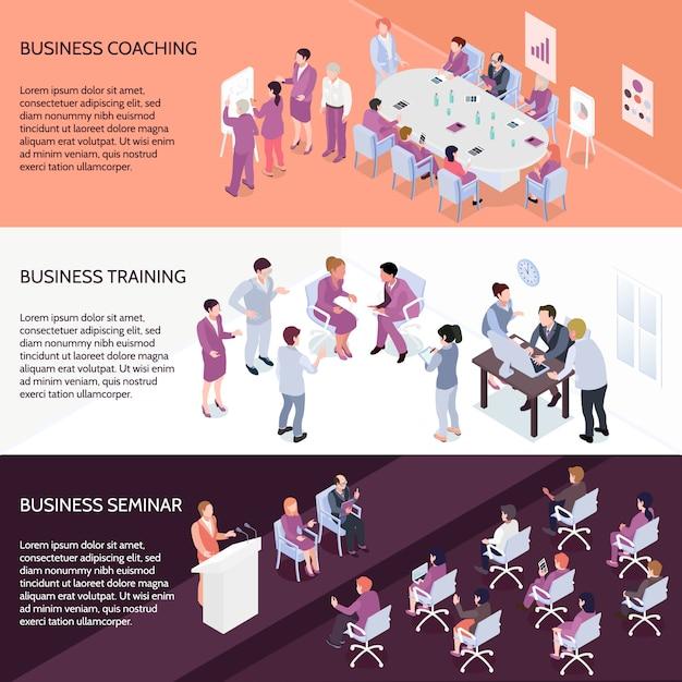 Banners isométricos horizontais de treinamento de negócios Vetor grátis