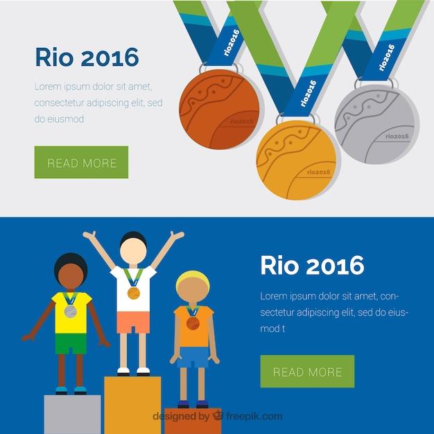 Banners jogos olímpicos com vencedores Vetor grátis