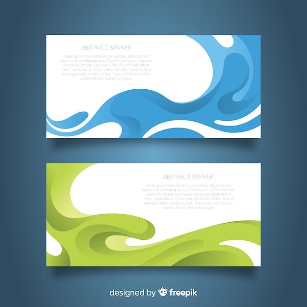 Banners modernos com formas onduladas coloridas Vetor grátis