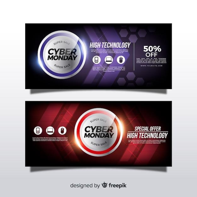 Banners modernos de cyber segunda-feira com design realista Vetor grátis