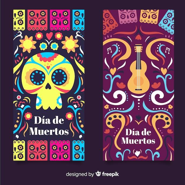 Banners modernos de dia de muertos Vetor grátis