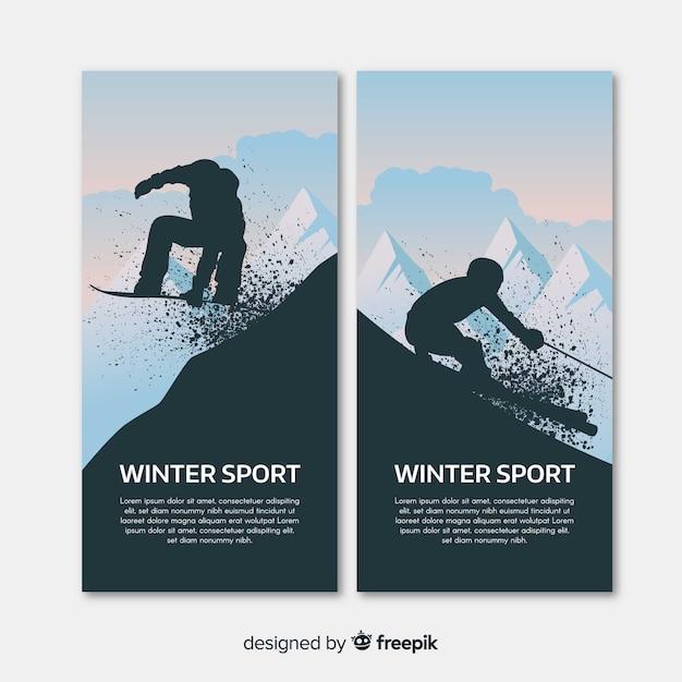 Banners modernos de esportes de inverno Vetor grátis