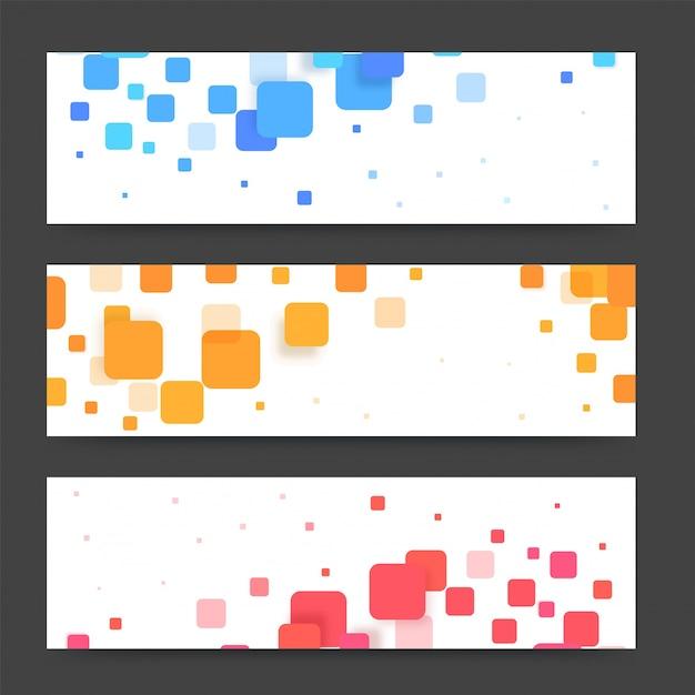 Banners modernos ou cabeçalhos com quadrados coloridos. banners vetoriais prontos para o seu texto ou design. Vetor grátis