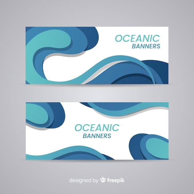 Banners oceânicos Vetor grátis