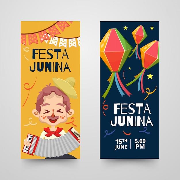 Banners ou roll-ups modelo com itens decorativos para junina festa Vetor Premium