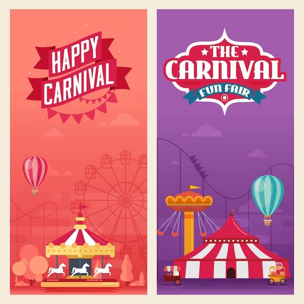 Banners parque de diversões carnaval Vetor Premium