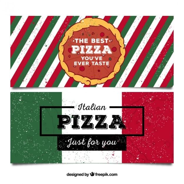 Banners pizzaria no estilo retro Vetor grátis