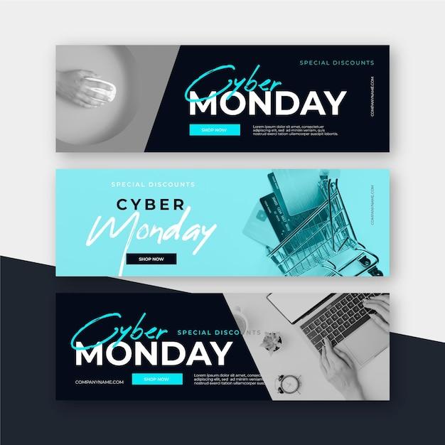 Banners planas de segunda-feira virtual Vetor grátis