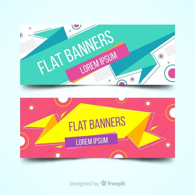 Banners planas Vetor grátis
