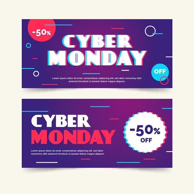 Banners planos cibernéticos de segunda-feira Vetor grátis