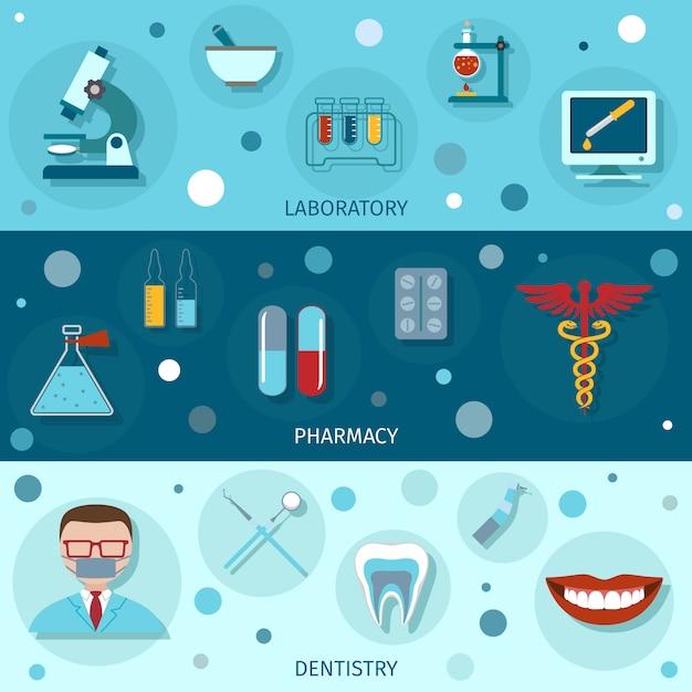 Banners planos médicos Vetor grátis