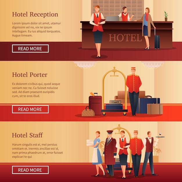 Banners planos para pessoal do hotel Vetor grátis