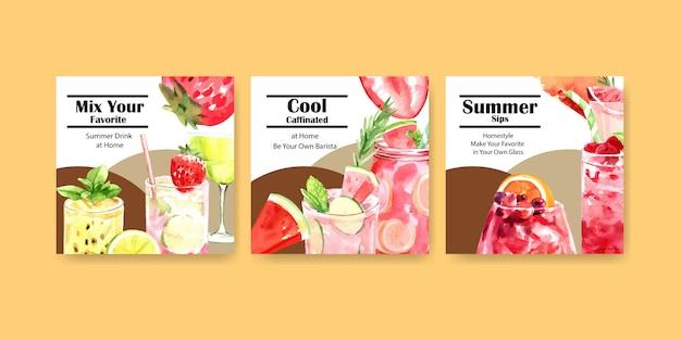 Banners quadrados de bebida de verão Vetor grátis