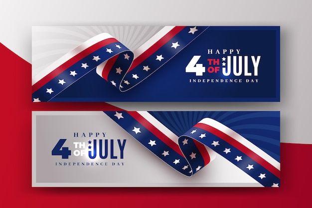 Banners realistas 4 de julho dia da independência Vetor grátis