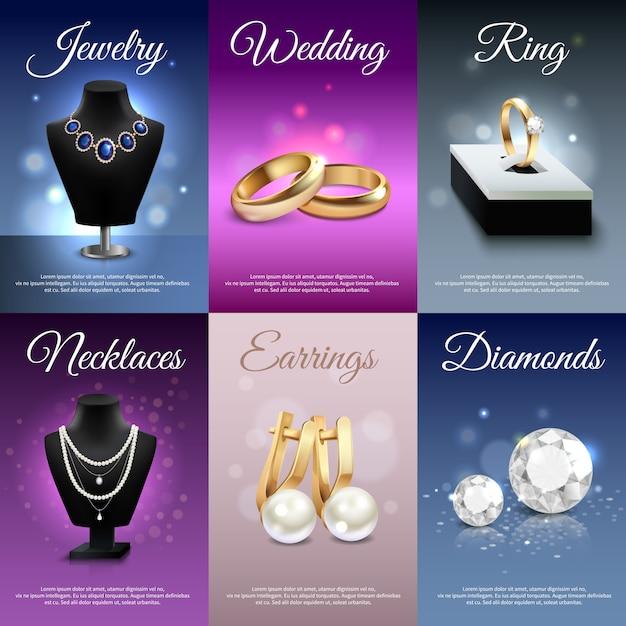 Banners realistas de jóias coloridas com anéis de colares brincos de diamantes Vetor grátis