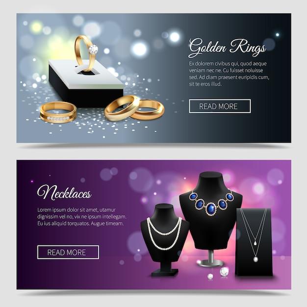 Banners realistas de jóias horizontais com anéis de ouro e colares elegantes em manequins Vetor grátis