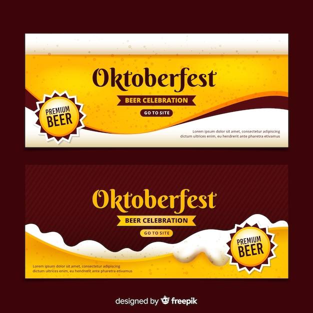 Banners realistas de oktoberfest Vetor grátis