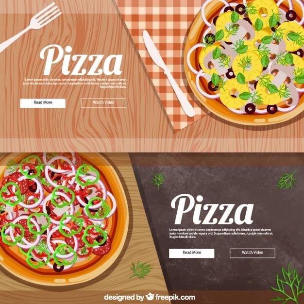 Banners realistas para a pizza Vetor grátis
