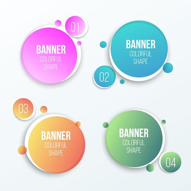 Banners redondos Vetor Premium