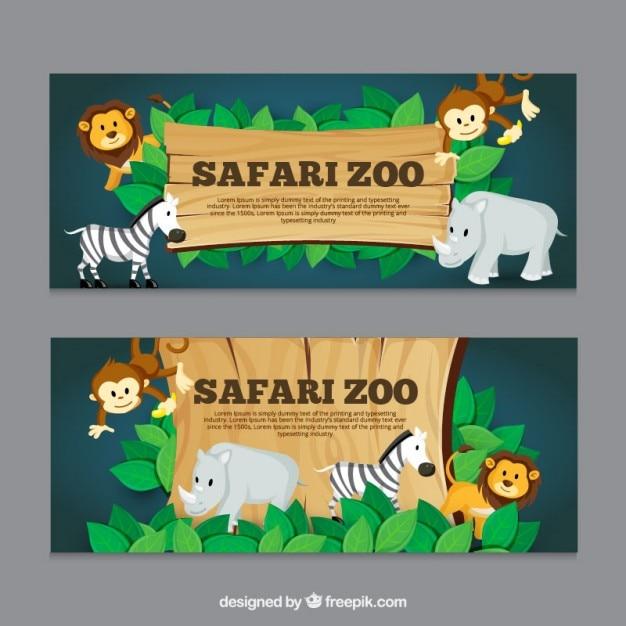 Banners safari com animais Vetor Premium
