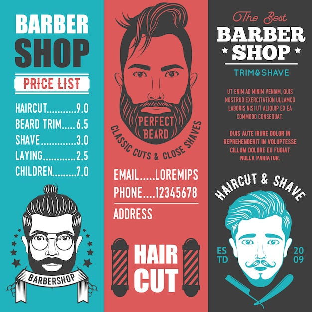 Banners verticais de barbearia Vetor grátis