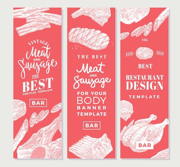 Banners verticais de carne desenhada à mão Vetor grátis