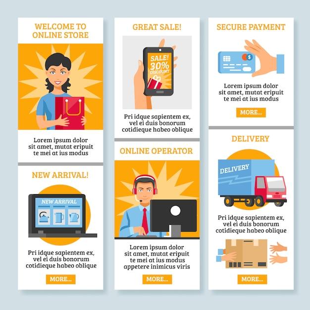Banners verticais de compras on-line Vetor grátis