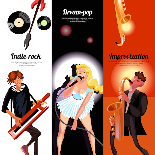Banners verticais de conceito de música Vetor grátis