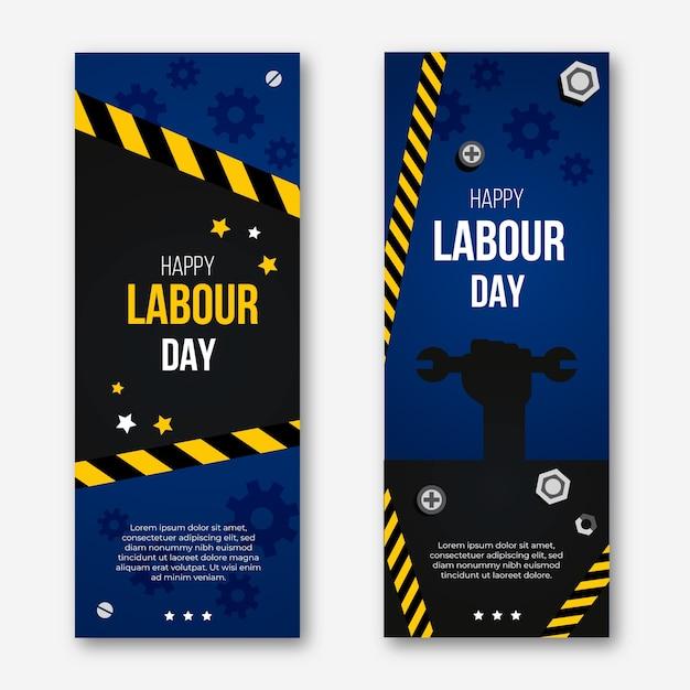 Banners verticais de design plano dia do trabalho Vetor grátis