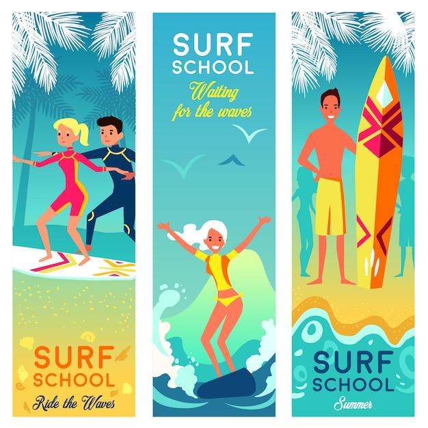 Banners verticais de escola de surf Vetor grátis