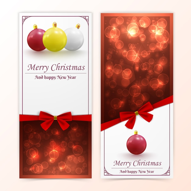 Banners verticais de férias de natal e ano novo com enfeites bokeh e laços vermelhos Vetor grátis