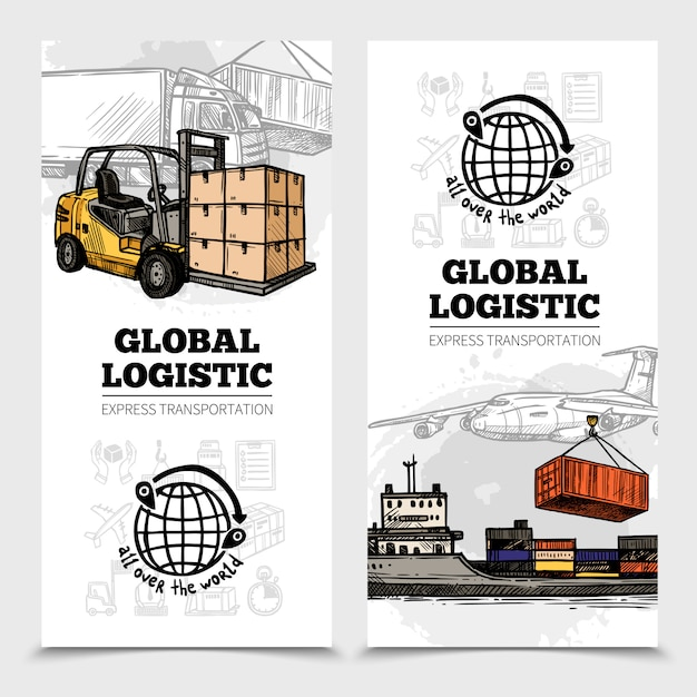 Banners verticais de logística global Vetor grátis