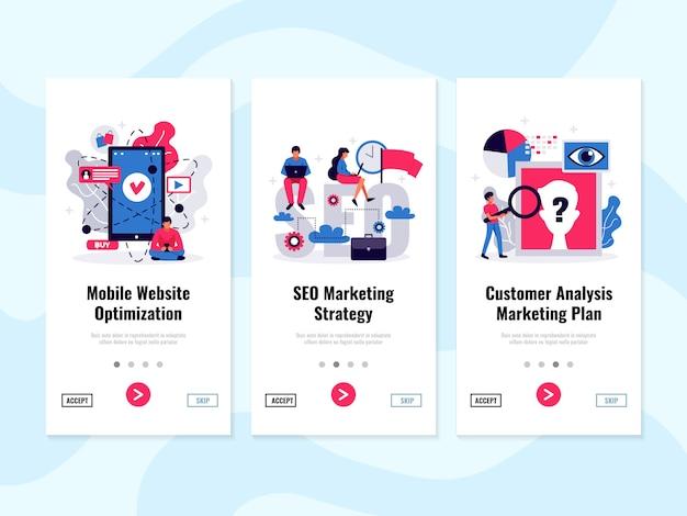 Banners verticais de marketing digital com símbolos de análise de cliente plano isolados Vetor grátis