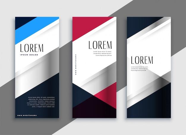 Banners verticais de negócios geométricos design Vetor grátis