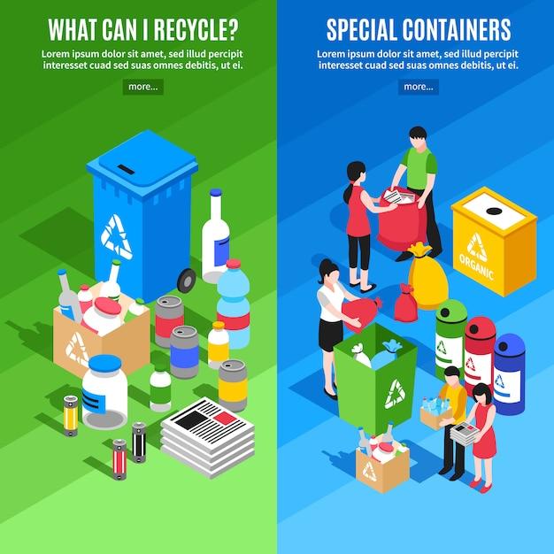 Banners verticais de reciclagem de lixo Vetor grátis