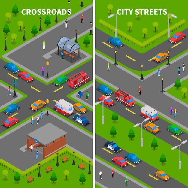 Banners verticais de tráfego de rua isométrica Vetor grátis