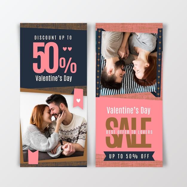 Banners verticais de venda do dia dos namorados Vetor grátis