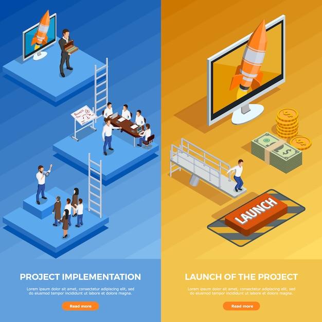 Banners verticais isométricas de estratégia de negócios Vetor grátis