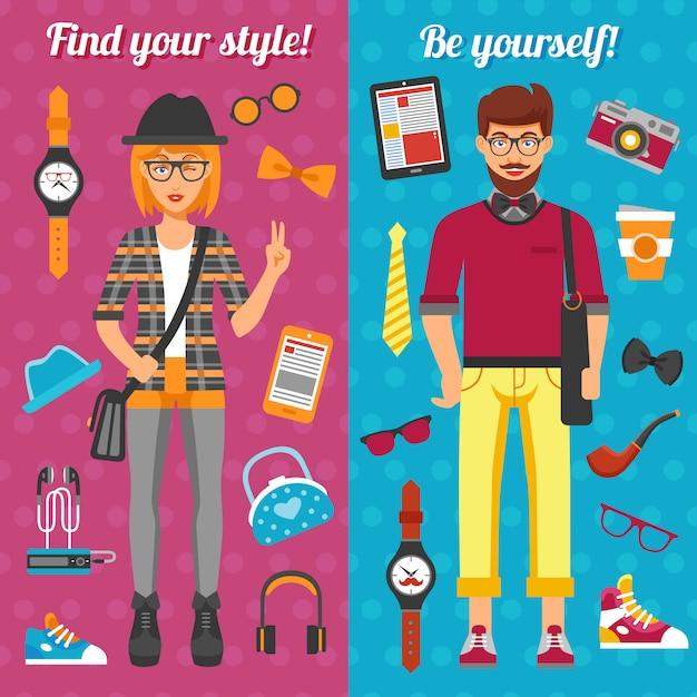 Banners verticais menino e menina hipster Vetor grátis