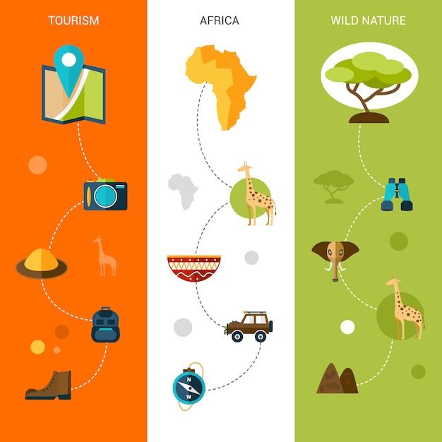 Banners verticais safari Vetor Premium
