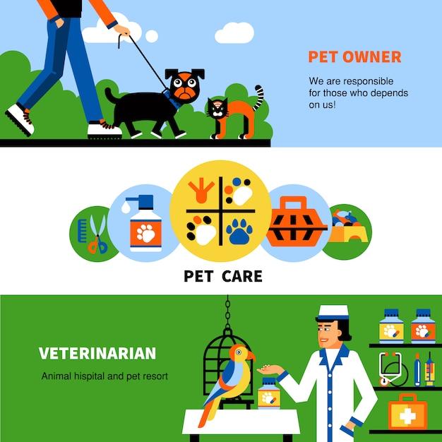 Banners veterinários com animal de estimação e veterinário Vetor grátis