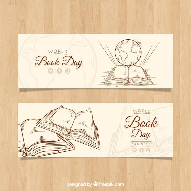 Banners vintage para o dia mundial do livro Vetor grátis