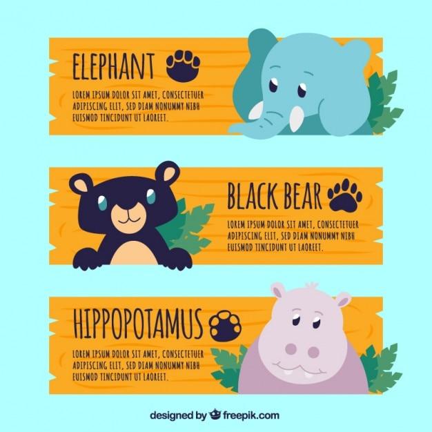 Banners zoológico com animais adoráveis Vetor grátis