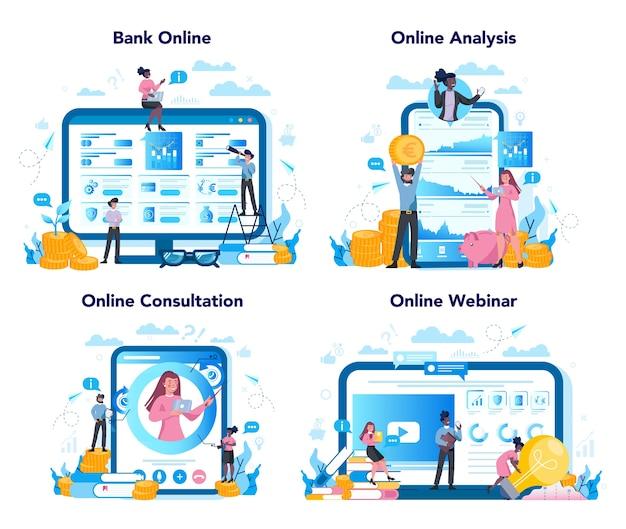 Banqueiro ou conjunto de conceitos bancários. ideia de receita financeira, economia de dinheiro Vetor Premium