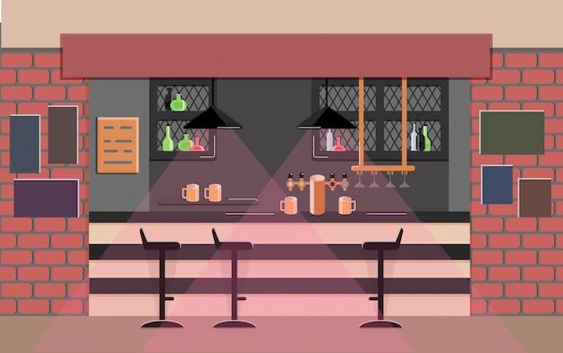 Bar balcão no pub Vetor Premium