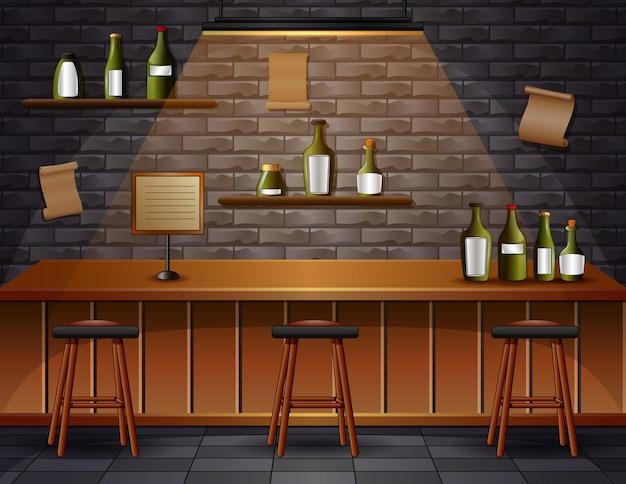 Bar café cerveja cafeteria balcão mesa interior ilustração Vetor Premium
